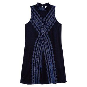 THML Embroidered Velvet Shift Dress